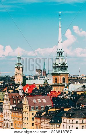 Stockholm, Sweden. Historical Center With Tall Steeple Of The Gertrude's Church In Gamla Stan, The O