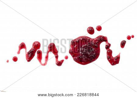 Black Currant Jam Splats Isolated On White