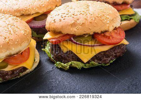 American Hamburger . Unhealthy Food Background . Fresh Burger