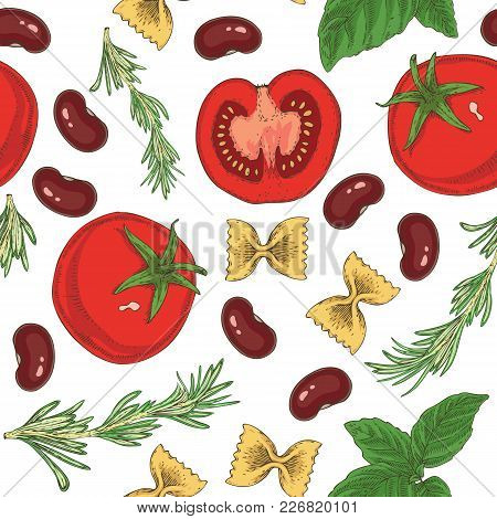 Seamless Vector Pasta, Beans, Herbs And Tomatoes Seamless Pattern On A White Background