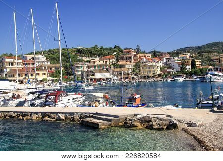 Quay Of The Village Of Kassiopi Is A Tourist Village In The North Of The Island Of Corfu. Greece