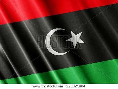 Libya Textured Proud Country Waving Flag Close