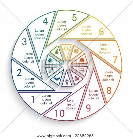 Template For Info-grapchics  10 Cyclic Processes, Step By Step, Colorful  Lines, Pie Chart With Shad