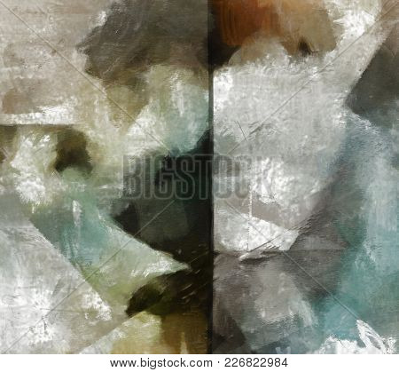 Muted Abstract Painting. Canvas. 3D rendering