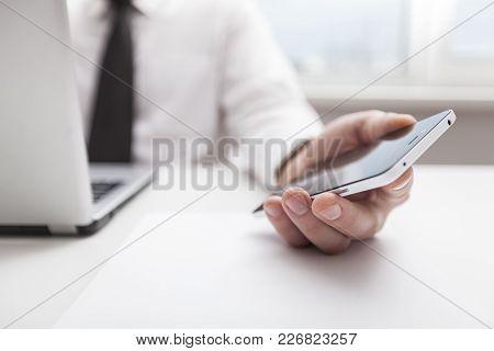 Man Phone White Computer Background Nobody Copy