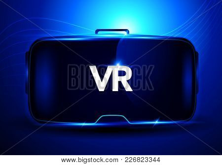 Vector Illustration Concept Using Abstract Stereoscopic 3d Virtual Reality Glasses Vr Interface, Dig