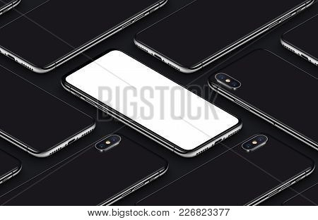 Perspective view isometric smartphones similar to iPhone X mockup pattern. New frameless smartphone back side and front side mockup. Ready to use smartphone mockup poster for mobile app UI or mobile design presentation. 3D illustration.