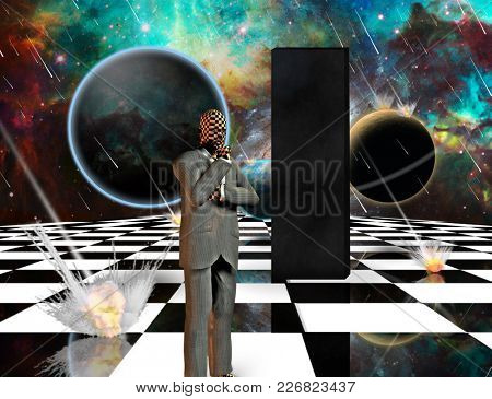 Planetary Armageddon. Massive meteorite - asteroid shower destroy planets. Black mystic monolith and thinking businessman on chessboard. 3D rendering
