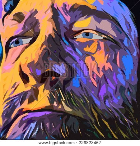 Surreal painting. Old man's face in purple colors. 3D rendering