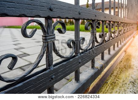 Wrought Iron Fence. Black Iron Fence Close Up