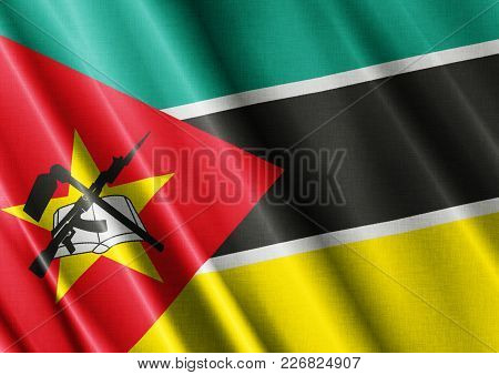Mozambique Textured Proud Country Waving Flag Close