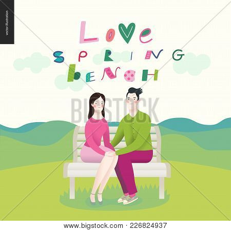 Love, Spring, Bench - A Couple In Love Sitting On A Bench On Th Elandscape With Mountains