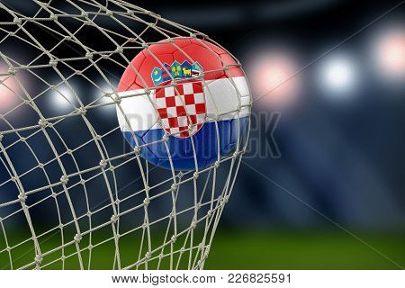 3d Illustration. Image Of Croatian Soccerball In Net