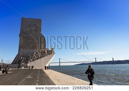 Lisbon , Portugal - February 7: Padrão Dos Descobrimentos (monument Of The Discoveries) Is A Monumen