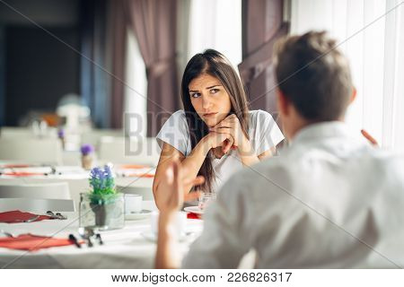 Worried Woman Doubting.angry Female Despise Partners Actions,agitated Person Having Relationship Pro