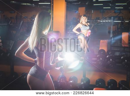 Young Fitness Woman Tired In Gym Hold Shaker With Sportive Nutrition - Protein Of Shaker , Horizonta