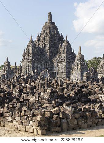 Prambanan Temple View In Jogjakarta, Java Indonesia