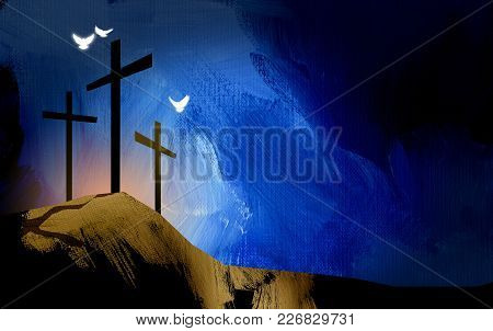 Graphic Illustration Of The Christian Crosses At Calvary Where Jesus Christ Was Crucified As A Sacri