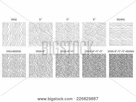 10 Seamless Pattern Of Ink Hand Drawn Linear Hatching And Crosshatching Textures. Texture Has 5 Diff