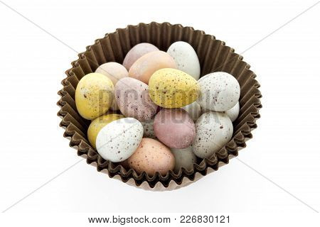 Easter Candy Speckled Eggs Isolated On White Background