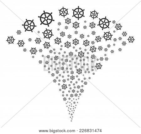 Boat Steering Wheel Explosion Fountain. Vector Illustration Style Is Flat Iconic Symbols. Object Fou