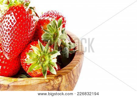 Bowl With Strawberries Isolated On White Background
