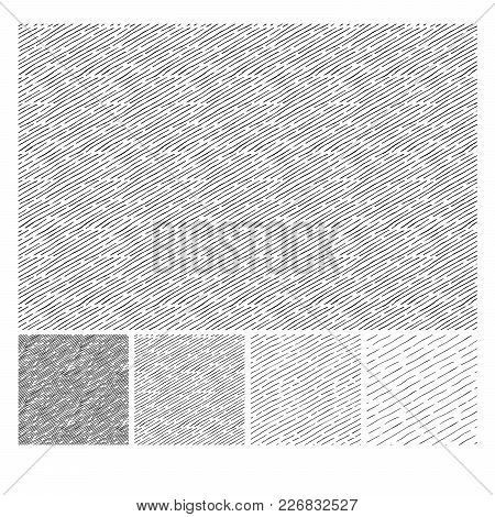 Seamless Pattern Of Hand Drawn Sketches Inclined Parallel Hatching Grunge Textures. Texture Has Four