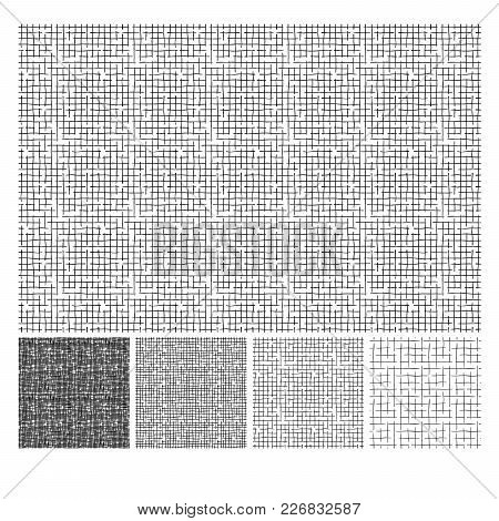Seamless Pattern Of Hand Drawn Sketches Rough Crosshatching Grunge Texture. Texture Has Four Differe