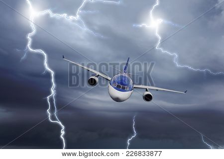 Plane flies away from the approaching thunderstorm, collage