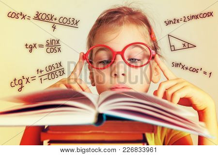 Girl in glasses studies trigonometry from a book, collage