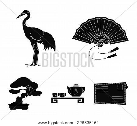 Fan, Red Crown Crane, Tea Ceremony, Bonsai.japan Set Collection Icons In Black Style Vector Symbol S