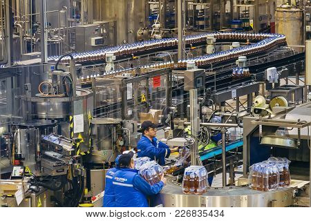 Voronezh, Russian Federation - February 15, 2018: Production Of Beer In Voronezh Beer Factory Baltik
