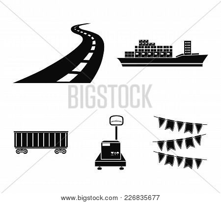Cargo Ship, Railway Car, Scales With Box, Road. Logistic, Set Collection Icons In Black Style Vector