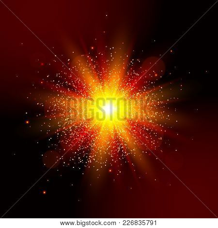Explosion Light. Vector Star Explosion Red Glow Effect.