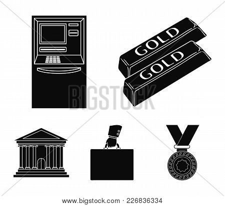 Gold Bars, Atm, Bank Building, A Case With Money. Money And Finance Set Collection Icons In Black St