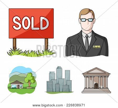 Employee Of The Agency, Sold, Metropolis, Country House. Realtor Set Collection Icons In Cartoon Sty