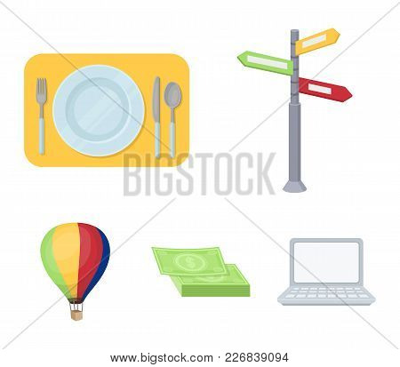 Vacation, Travel, Pointer, Way, Navigation .rest And Travel Set Collection Icons In Cartoon Style Ve