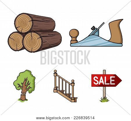 Logs In A Stack, Plane, Tree, Ladder With Handrails. Sawmill And Timber Set Collection Icons In Cart