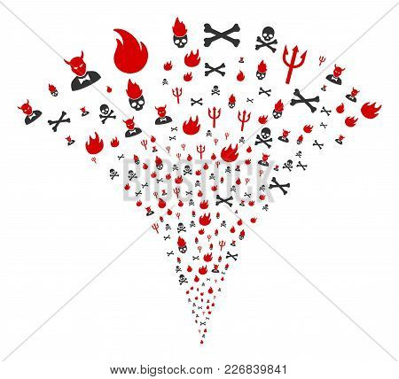 Hell Fire Exploding Fountain. Vector Illustration Style Is Flat Iconic Symbols. Object Fountain Made
