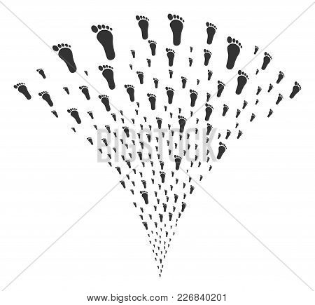 Human Footprint Fireworks Fountain. Vector Illustration Style Is Flat Iconic Symbols. Object Fountai
