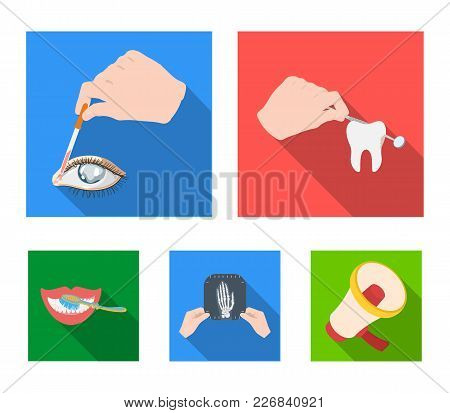 Examination Of The Tooth, Instillation Of The Eye And Other  Icon In Flat Style. A Snapshot Of The H