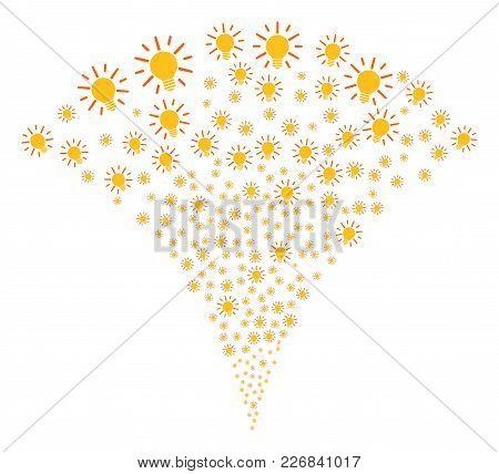 Light Bulb Burst Fountain. Vector Illustration Style Is Flat Iconic Symbols. Object Fountain Organiz