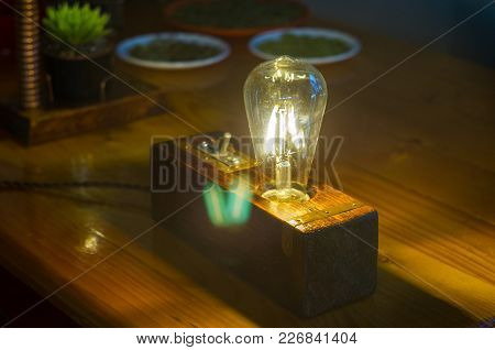 Light Fixture Handmade In Vintage Style, Wooden Case, Copper Finish, Led Lamp