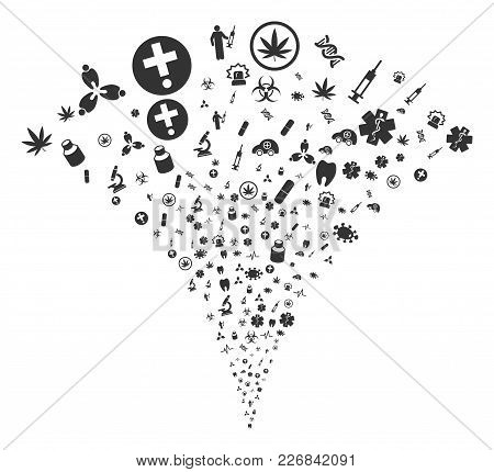 Medical Symbols Festive Fountain. Vector Illustration Style Is Flat Iconic Symbols. Object Fountain