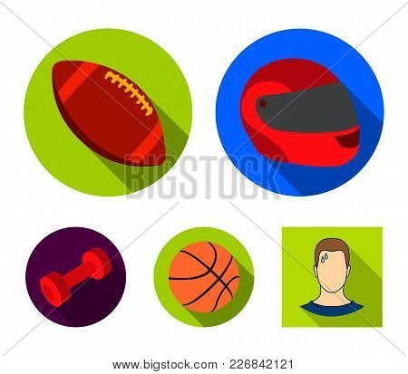 Red Protective Helmet, Rugby Ball, Basketball Ball, Dumbbells. Sport Set Collection Icons In Flat St
