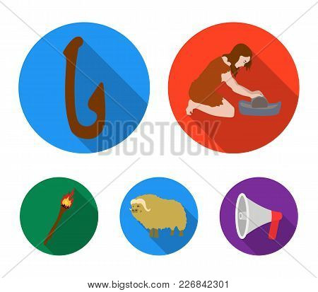 Cattle, Catch, Hook, Fishing .stone Age Set Collection Icons In Flat Style Vector Symbol Stock Illus
