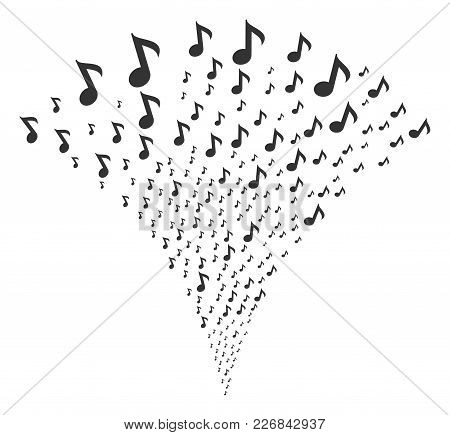 Musical Note Burst Fountain. Vector Illustration Style Is Flat Iconic Symbols. Object Fountain Done