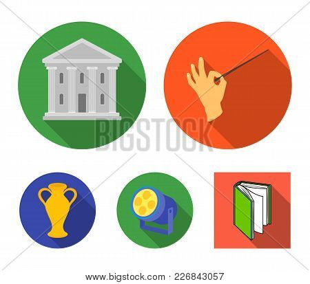Conductor's Baton, Theater Building, Searchlight, Amphora.theatre Set Collection Icons In Flat Style