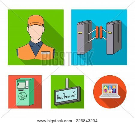 Mechanism, Electric , Transport, And Other  Icon In Flat Style. Pass, Public, Transportation, Icons