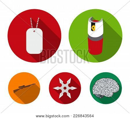 A Gas Cylinder, A Soldier's Token, A Sniper Rifle, A Shuriken. Weapons Set Collection Icons In Flat